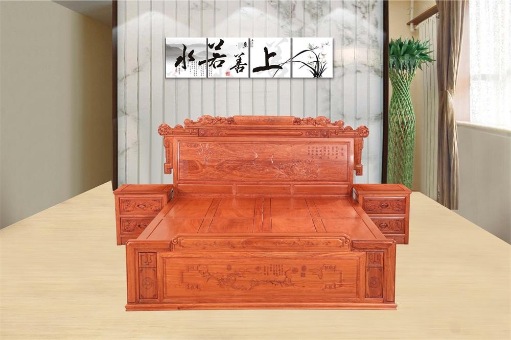 东非香花梨孔雀大床3件套